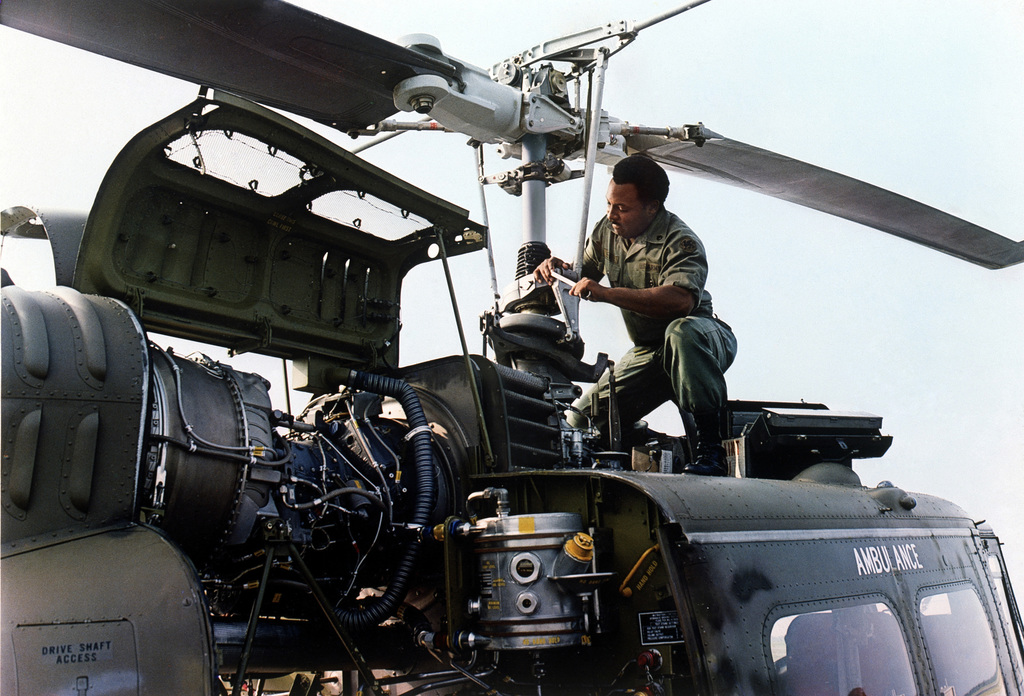 What equipment will I work on as a helicopter mechanic?